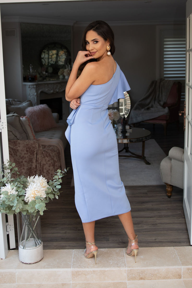 Lucia One Shoulder Ruffle Dress - Baby Blue