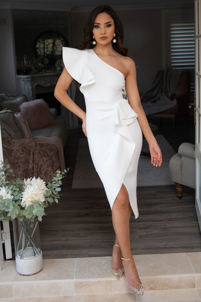 Lucia One Shoulder Ruffle Dress