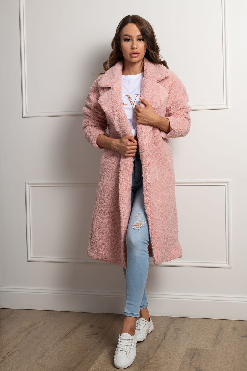 Teddy Lover Coat- Blush.
