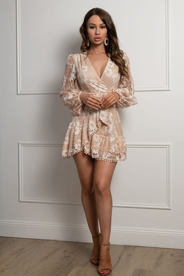 Yasmine Mini Dress-Nude.
