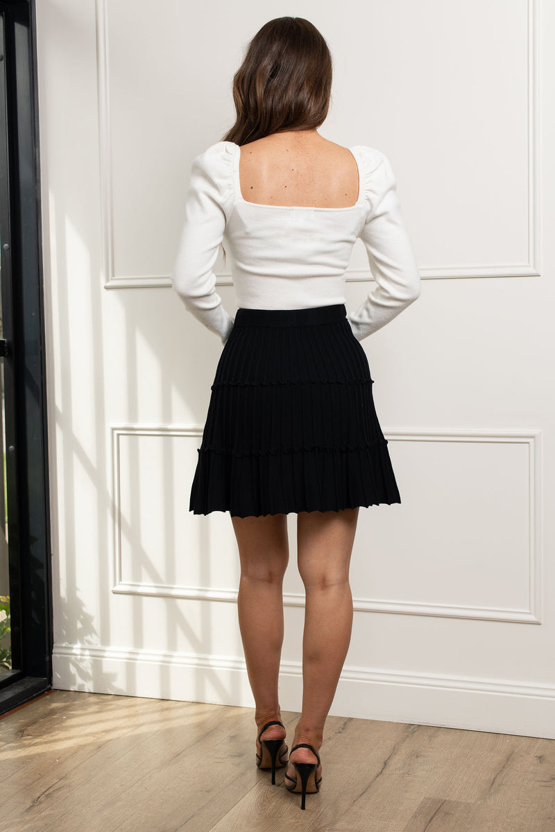 Taylor Knit Mini Skirt - Black.