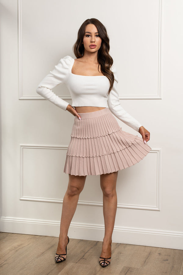 Taylor Knit Mini Skirt - Blush.