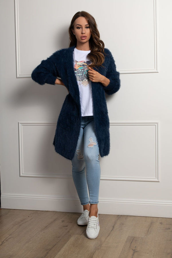 Shaggy Cardigan- Navy.