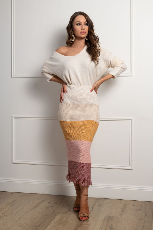 Shona Knit Skirt- Rust Multi.