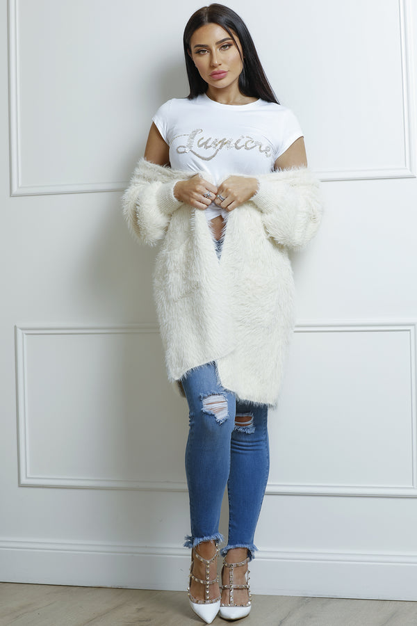 Shaggy Cardigan- Cream.