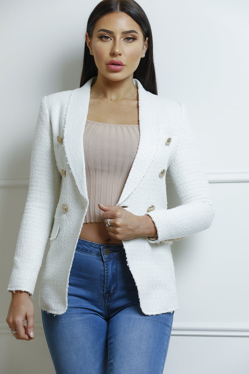 Chanel Tweed Blazer- Beige.