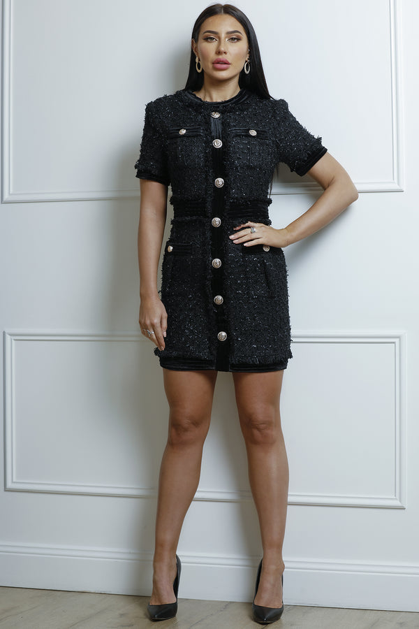 Chloe Tweed Dress- Black.