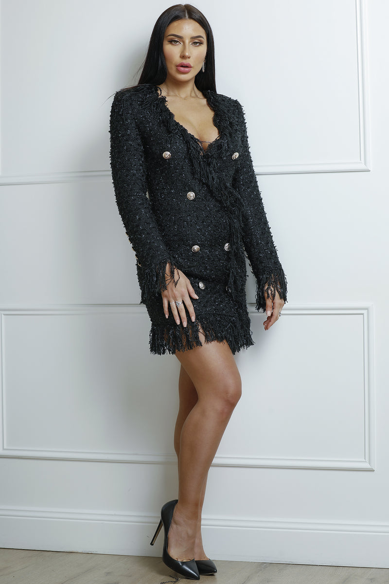 Mandy Tweed Dress- Black.