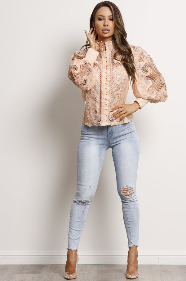 Victoriana Lace Blouse- Blush.