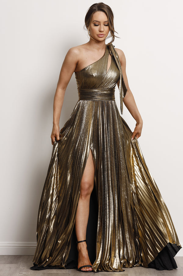 Athena Gown- Metallic Gold.