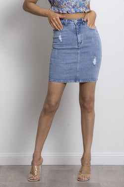 Ibiza Denim Skirt- Washed Blue.