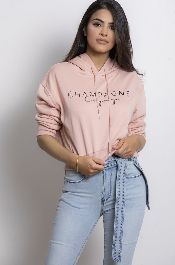 Champagne Hoodie- Pink.