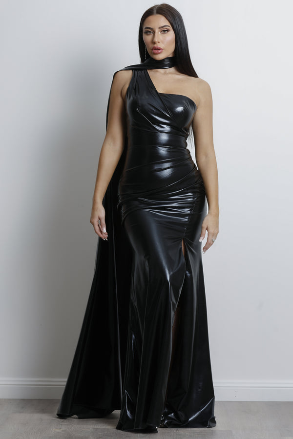 JADORE GOWN- Metallic Black.