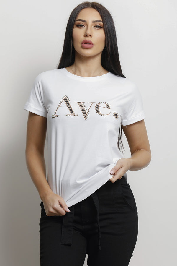 Ave T-shirt- White/Tiger.