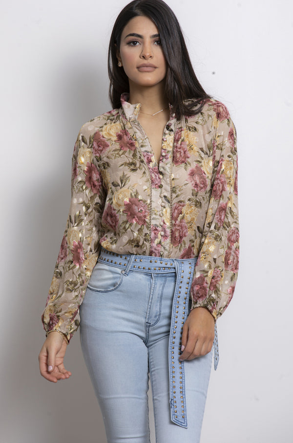 Garden of Roses Blouse- Beige.
