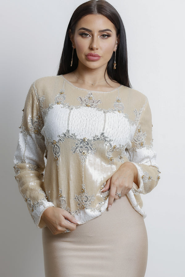 Venetian Sequins Top-Gold.