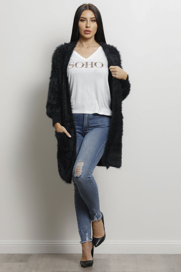 Shaggy Cardigan- Black.