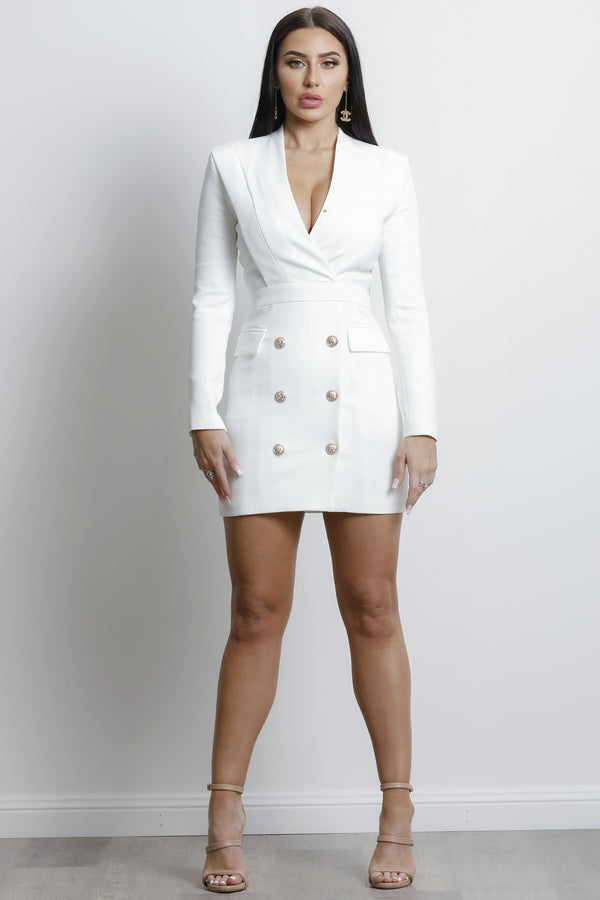 Charny Long Sleeve Dress- White.
