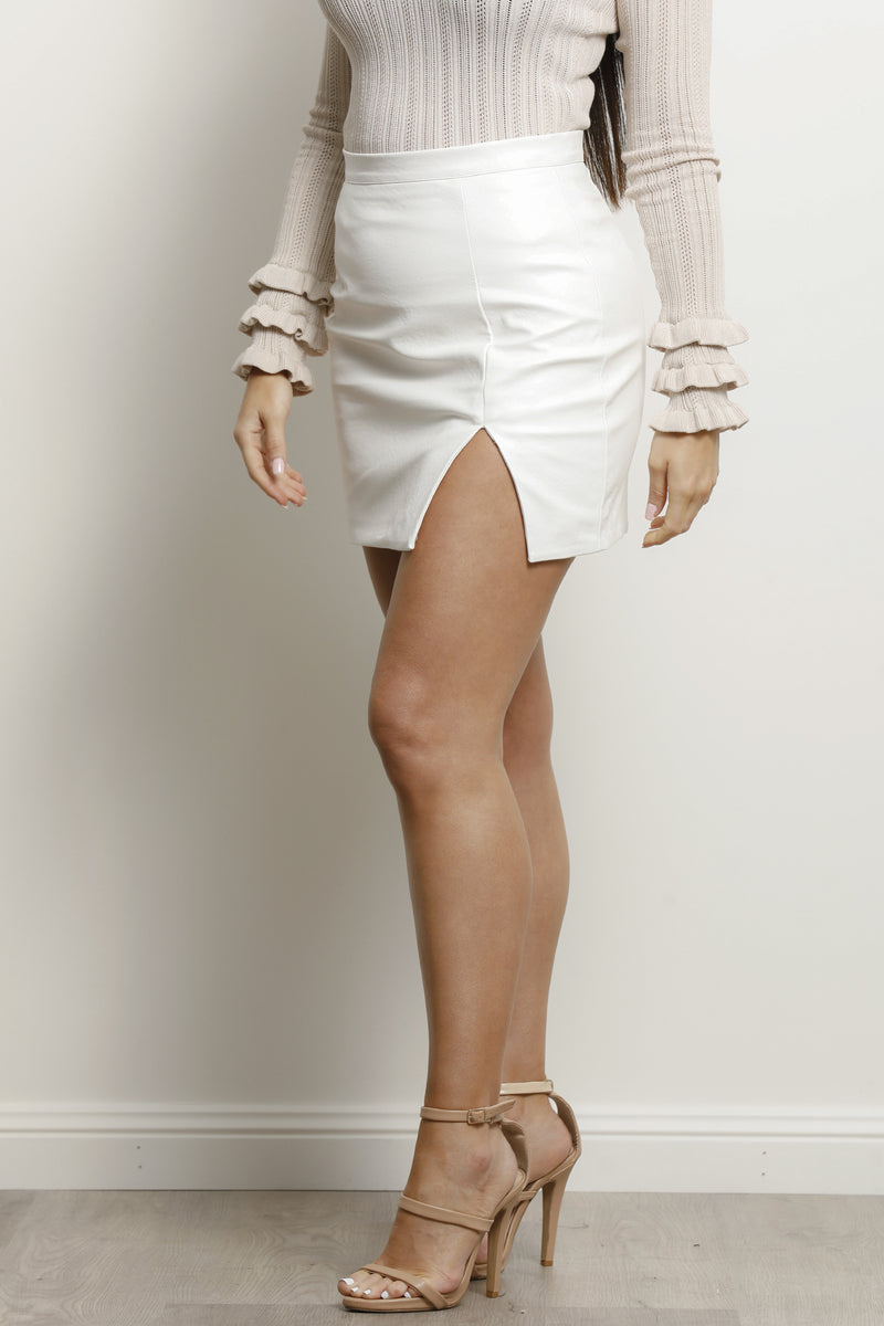 Gina Skirt- Pu white.