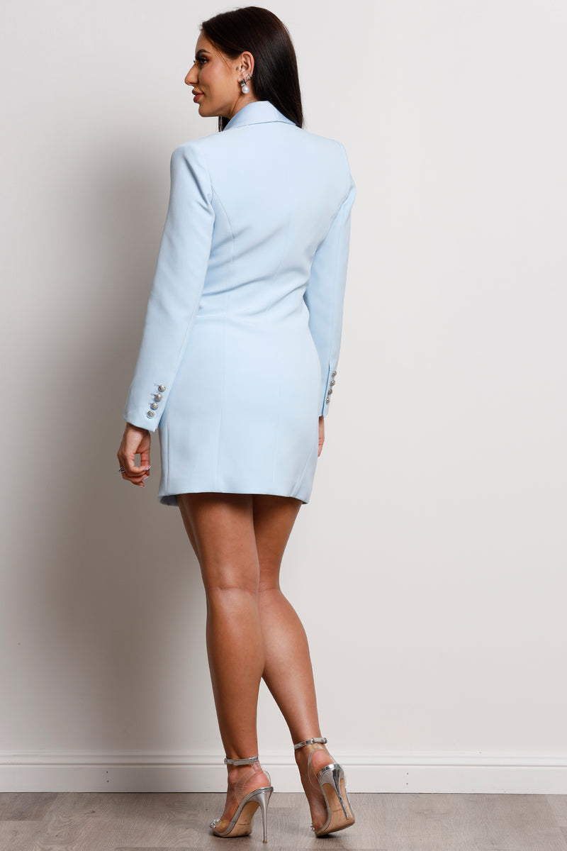 Aviel Blazer Dress- Sky Blue.