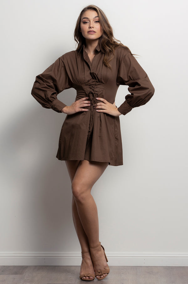 New York Shirt Dress- Chocolate.