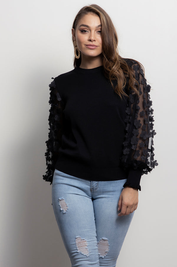 Pretty Petals Knit- Black.