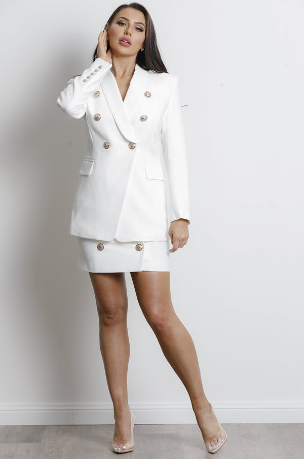 Ballina Long Blazer- White.