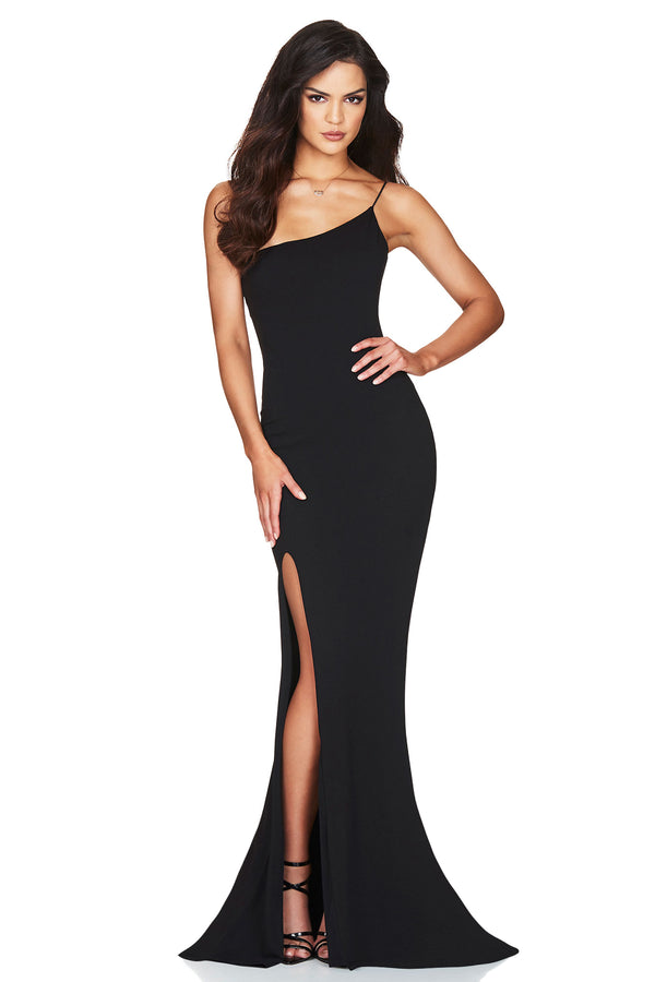 Jasmine One Shoulder Gown- Black.
