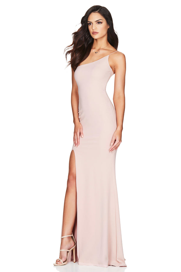 Jasmine One Shoulder Gown - Blush.