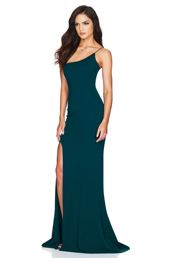 Jasmine One Shoulder Gown - Teal.