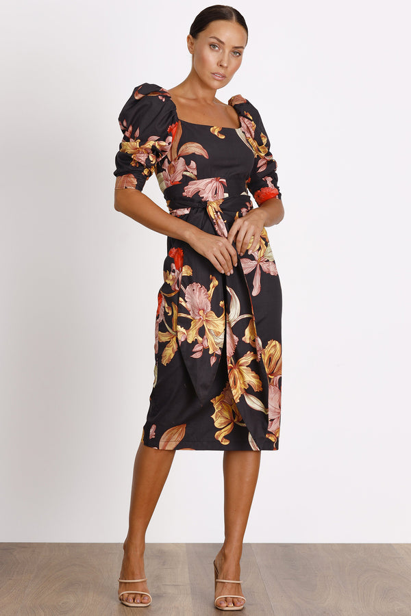 Calyx Fitted Midi- Dark Floral.