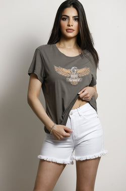Wild At Heart T-Shirt- Khaki.