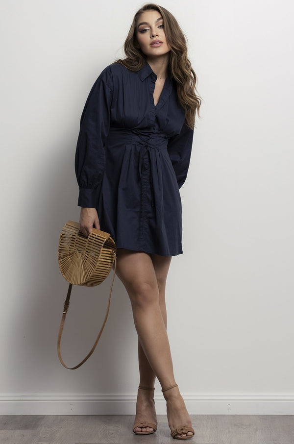 New York Shirt Dress- Navy.