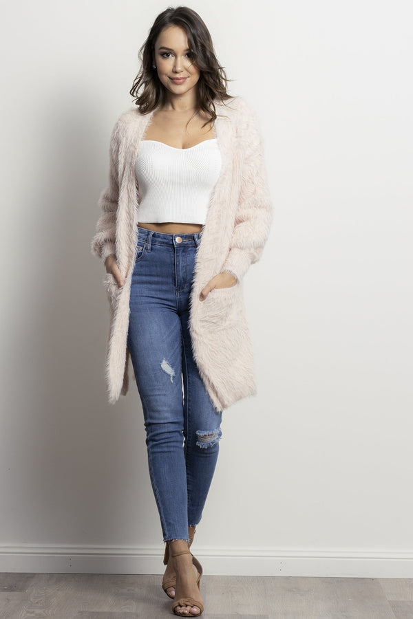 Shaggy Cardigan- Blush.