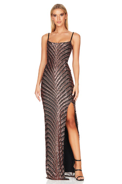 Zahara Gown- Bronze Black.