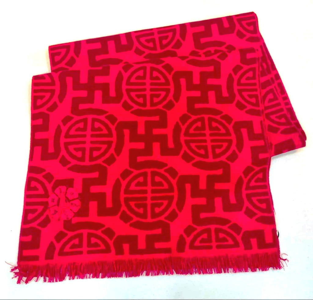 Gold Luck Shawl Muffler - Red