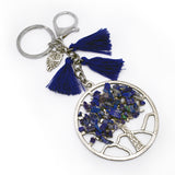 TREE OF LIFE KEYCHAIN WITH GEMSTONE - BLUE