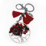 TREE OF LIFE KEYCHAIN WITH GEMSTONE - RED