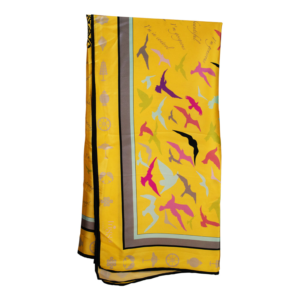 Affirmation Shawl for Woman -Yellow  (130cm x 130cm) (100% Silk)