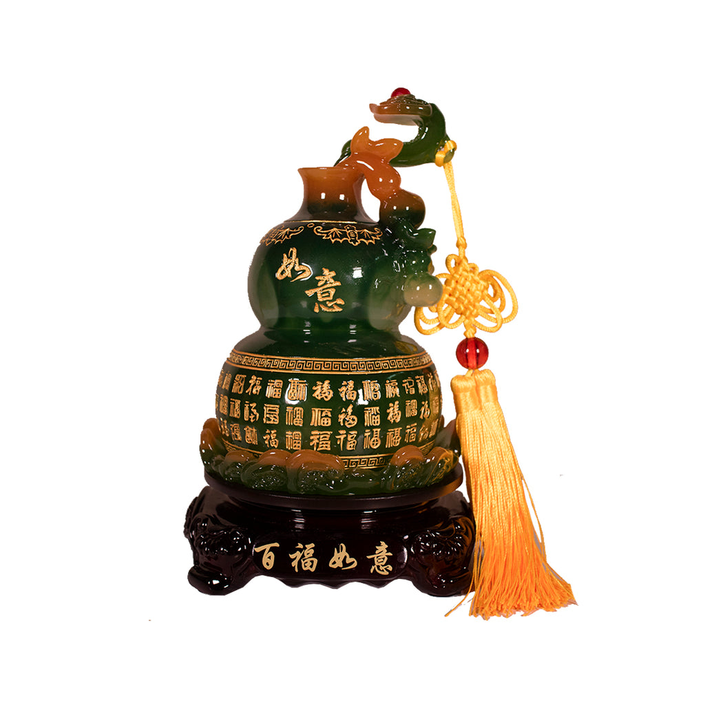 ROTATING GREEN WULOU WITH RUYI ON TOP (SMALL) (A54)