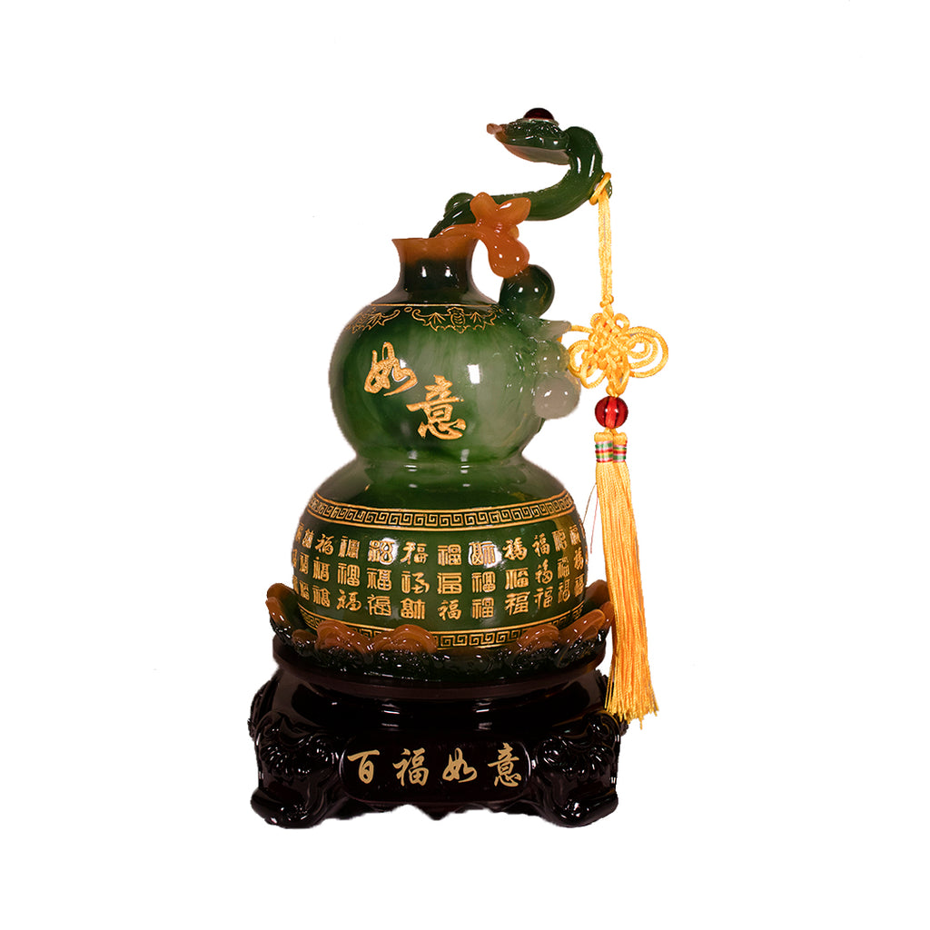 ROTATING GREEN WULOU WITH RUYI ON TOP (BIG)(A55)