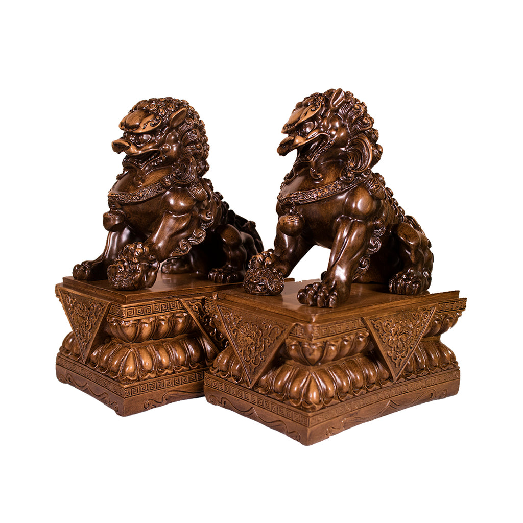PAIR BROWN FU DOGS (SMALL) (A3)