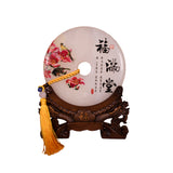 PEONY FLOWER WITH BIRDS JADE DISC (A61)