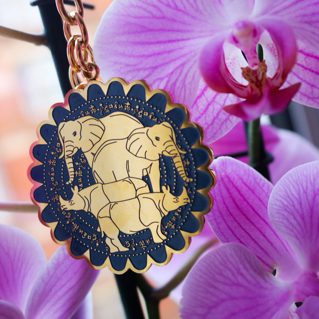 Rhino & Elephant with mantra Amulet - Gold
