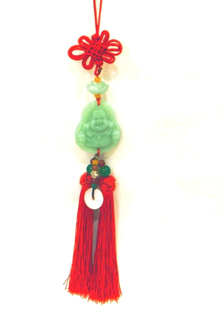 Jade Laughing Buddha hang Deco with Red tassel