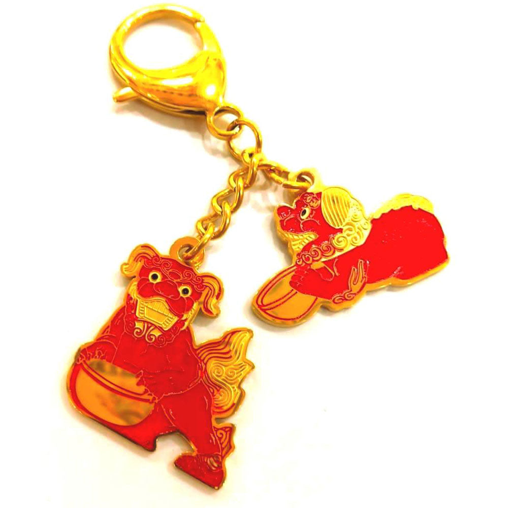 Red Fu Dogs with Mantra Amulet  - Silver