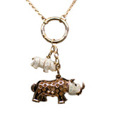 RHINO & ELEPHANT NECKLACE (COLOUR IVORY)