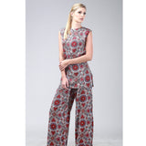 Sleeveless Tunic w/ Pants in Floral Coin print