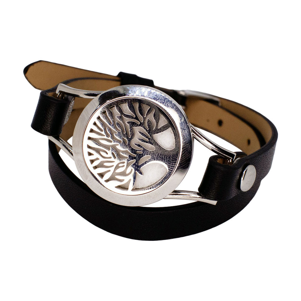 Black Leather Tree Of Life Bracelet