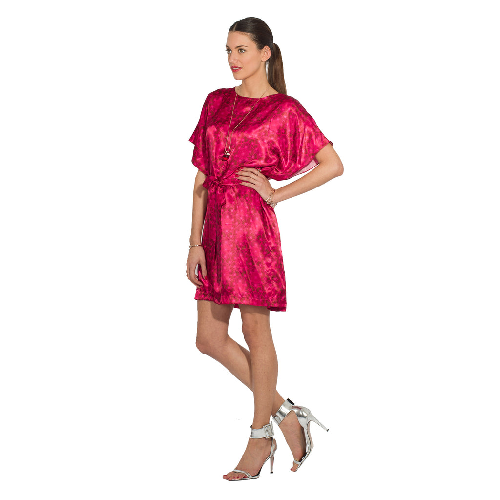 Belted Kaftan Dress Coin - Red
